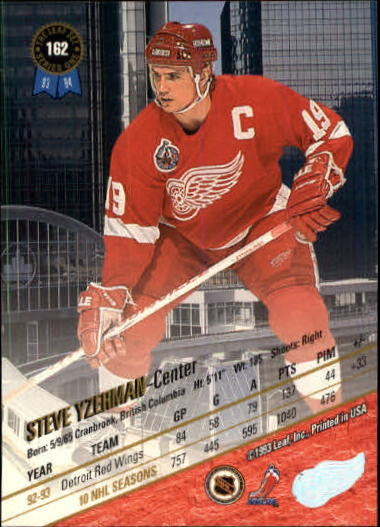 1993-94 Leaf #162 Steve Yzerman back image