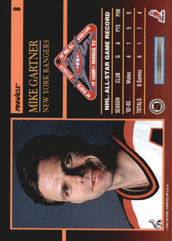 1993-94 Pinnacle All-Stars #8 Mike Gartner back image