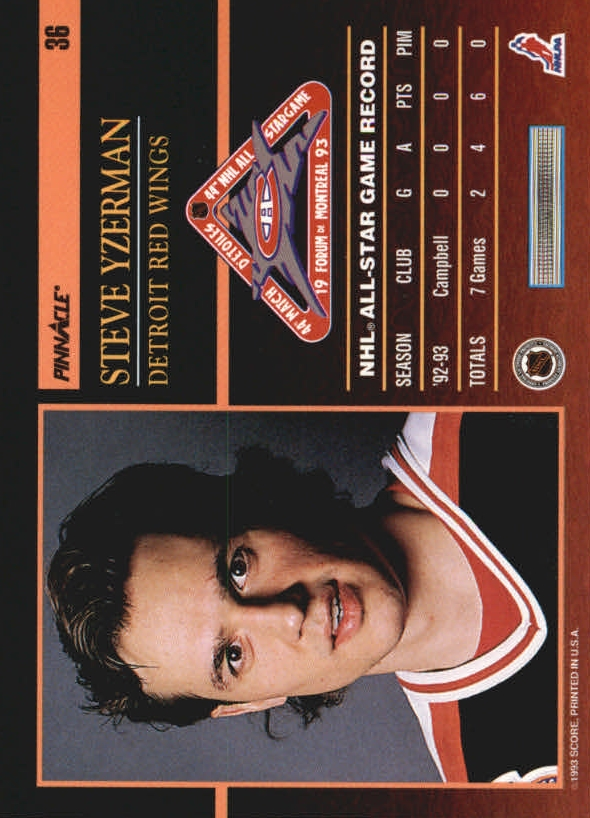 1993-94 Pinnacle All-Stars #36 Steve Yzerman back image