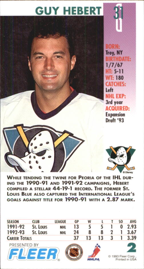 1993-94 PowerPlay #2 Guy Hebert back image