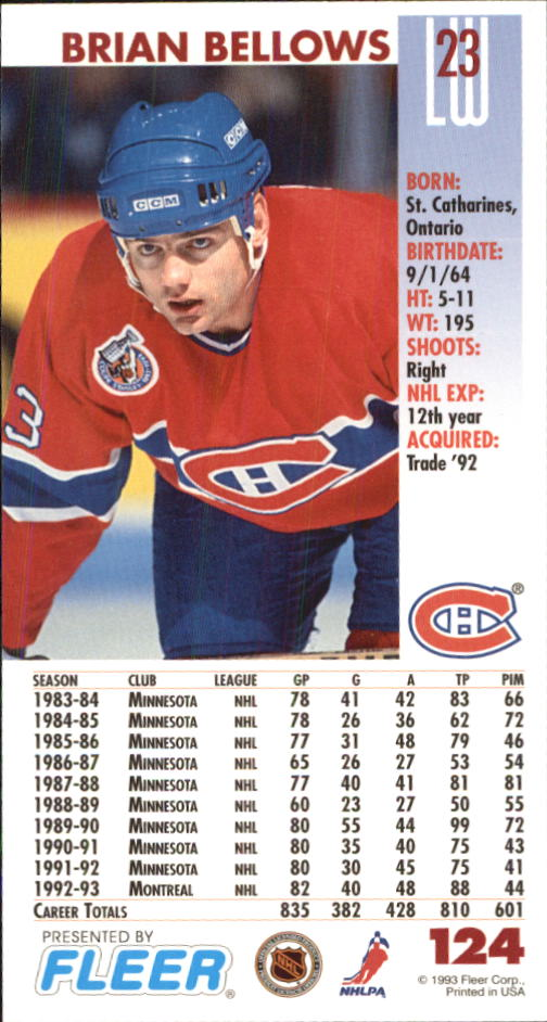 1993-94 PowerPlay #124 Brian Bellows back image
