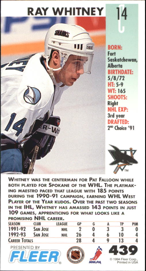 1993-94 PowerPlay #439 Ray Whitney back image