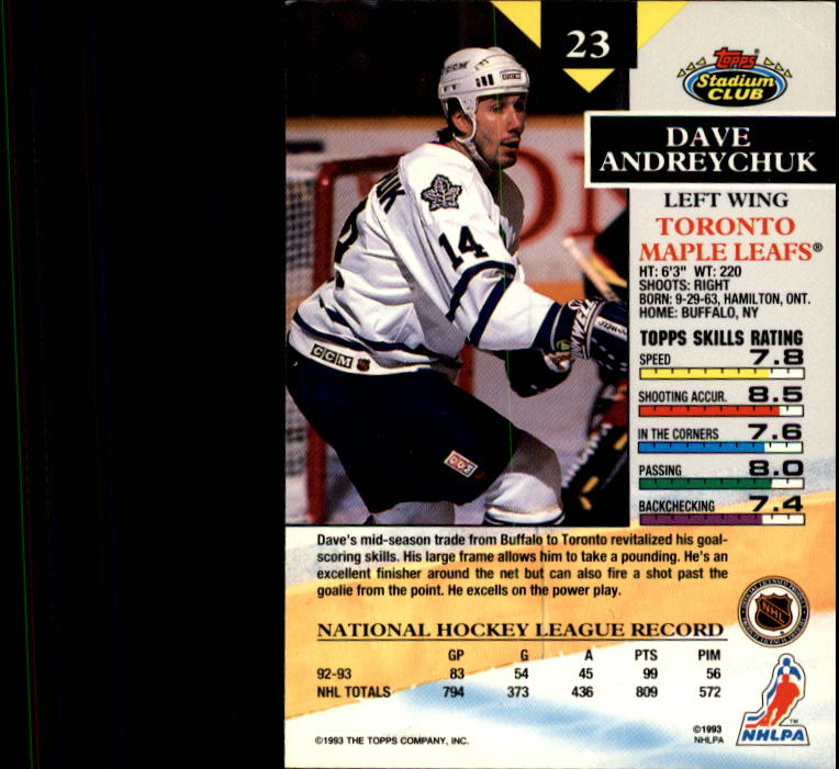 1993-94 Stadium Club #23 Dave Andreychuk back image