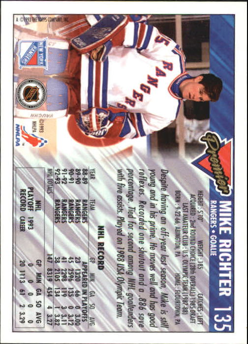 1993-94 Topps Premier #135 Mike Richter back image