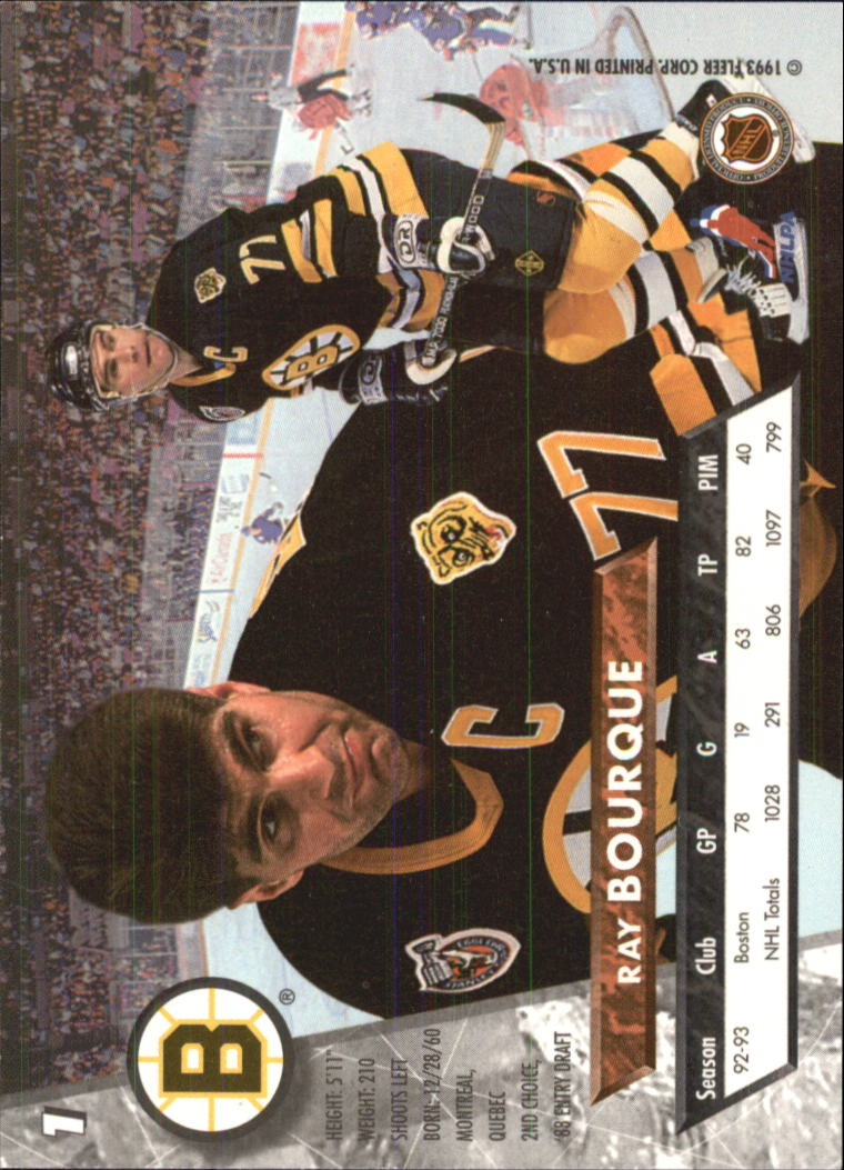 1993-94 Ultra #1 Ray Bourque UER back image