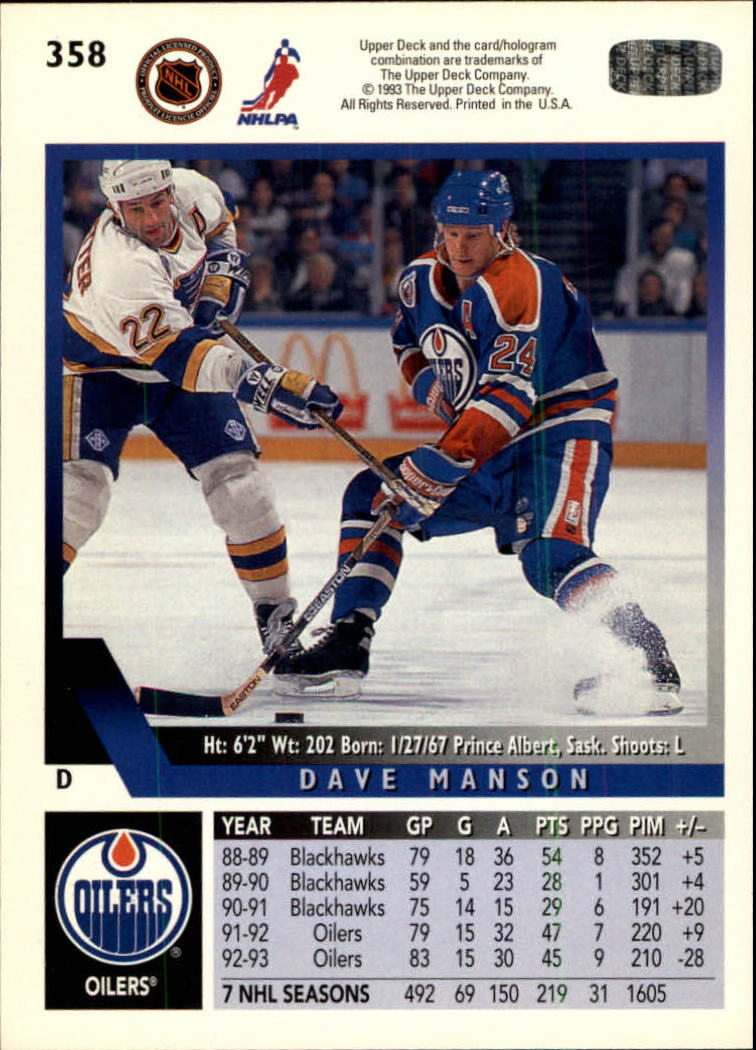 1993-94 Upper Deck #358 Dave Manson back image