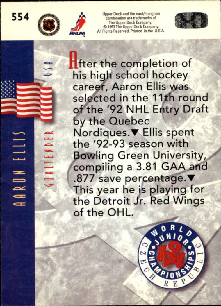 1993-94 Upper Deck #554 Aaron Ellis WJC RC