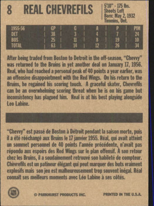1994 Parkhurst Missing Link #8 Real Chevrefils back image