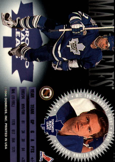 1994-95 Donruss #111 Mike Gartner back image