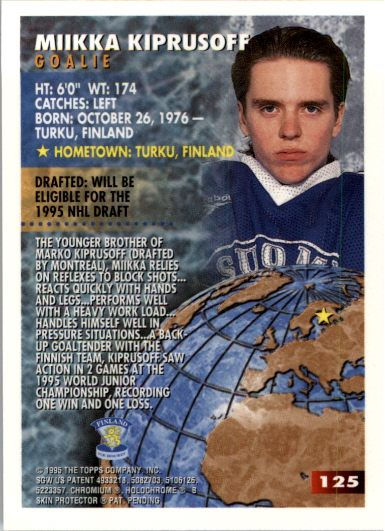 1994-95 Finest Super Team Winners #125 Miikka Kiprusoff WJC