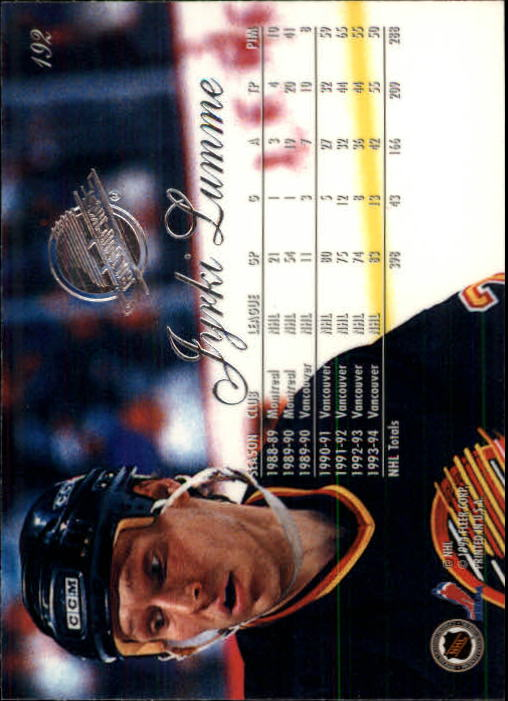 1994-95 Flair #192 Jyrki Lumme back image