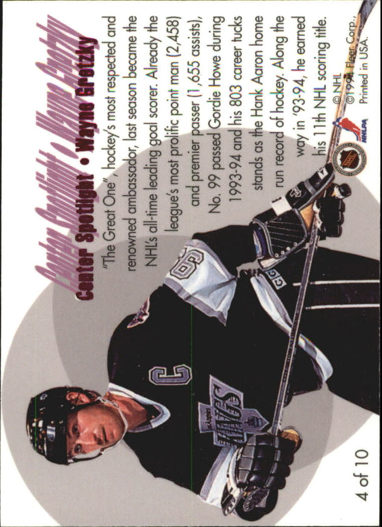 1994-95 Flair Center Spotlight #4 Wayne Gretzky back image