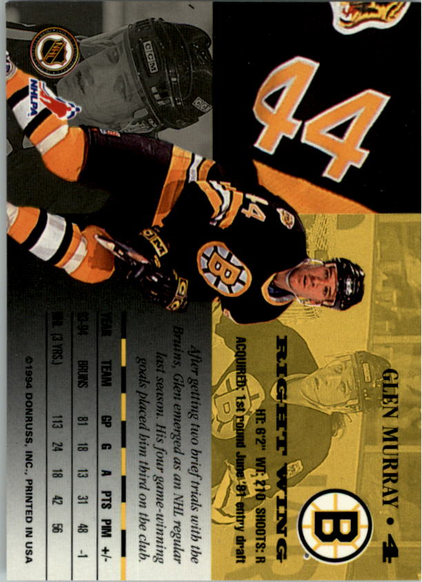 1994-95 Leaf #4 Glen Murray back image