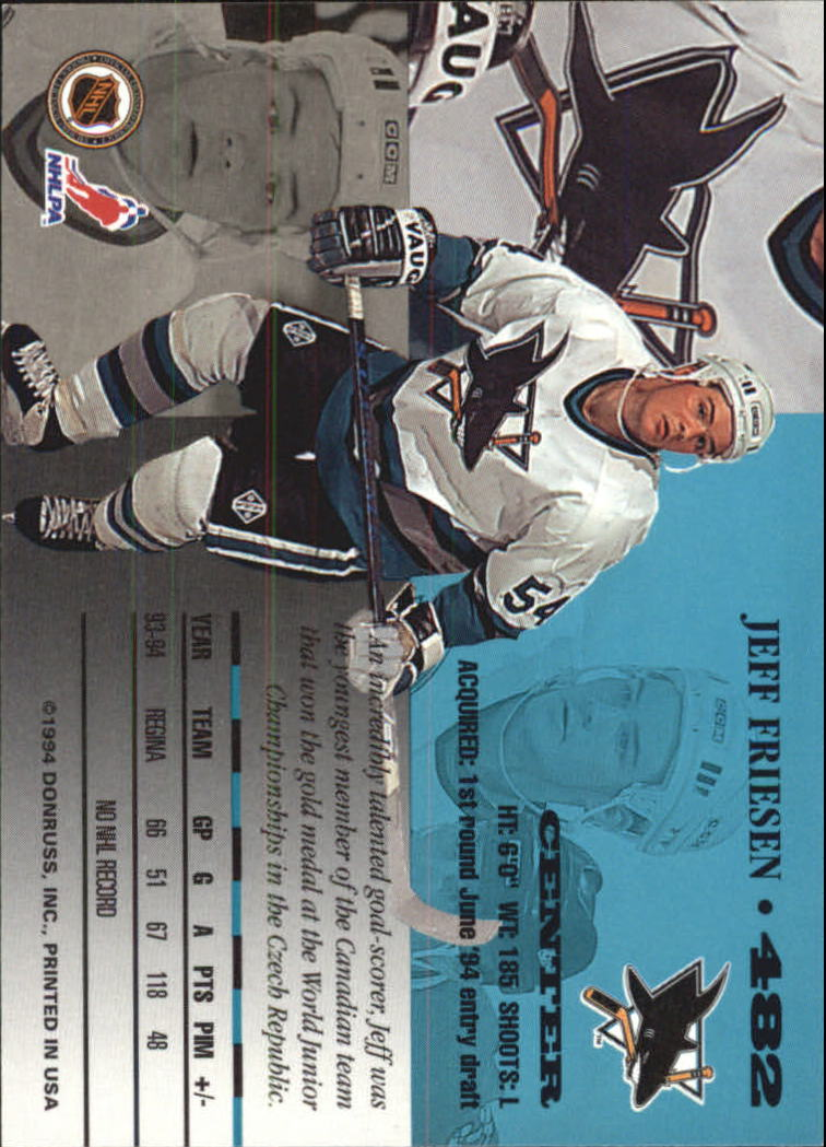 1994-95 Leaf #482 Jeff Friesen back image