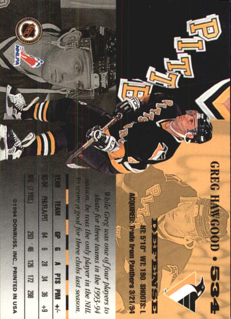 1994-95 Leaf #534 Greg Hawgood back image