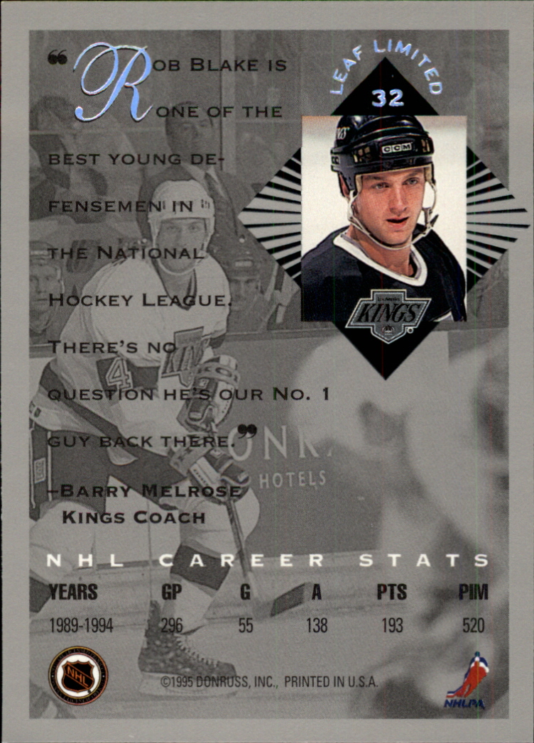 1994-95 Leaf Limited #32 Rob Blake back image