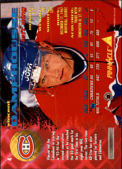 1994-95 Pinnacle #4 Vincent Damphousse back image