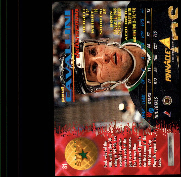 1994-95 Pinnacle #81 Paul Cavallini back image