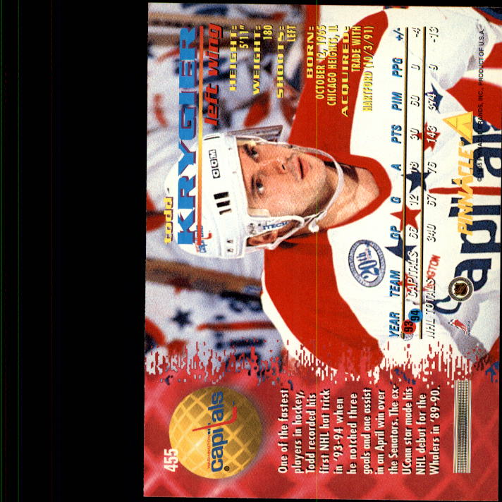 1994-95 Pinnacle #455 Todd Krygier back image