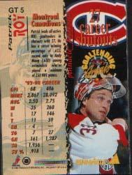 1994-95 Pinnacle Goaltending Greats #GT5 Patrick Roy back image