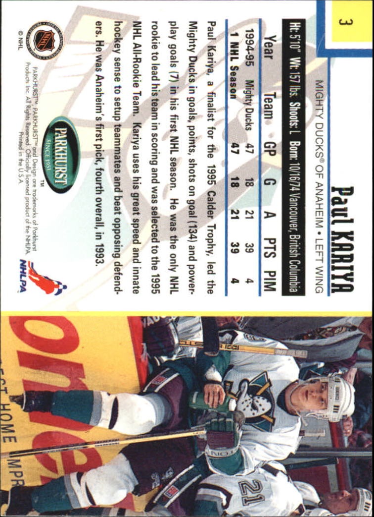 1995-96 Parkhurst International #3 Paul Kariya