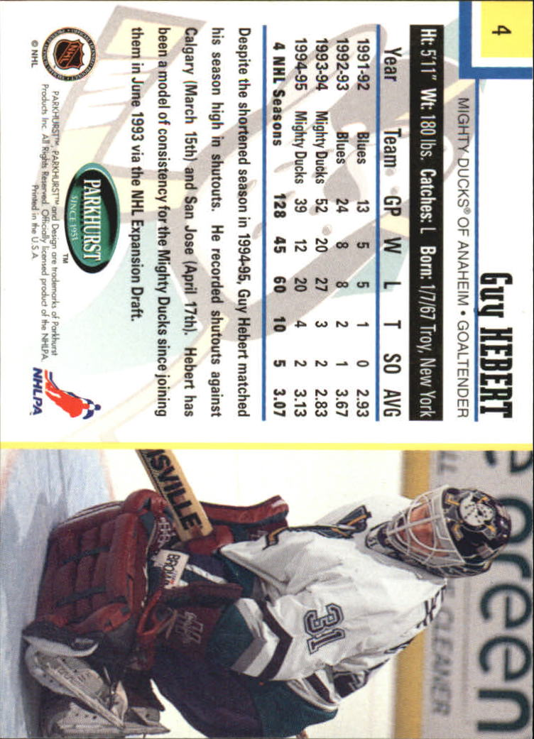 1995-96 Parkhurst International #4 Guy Hebert