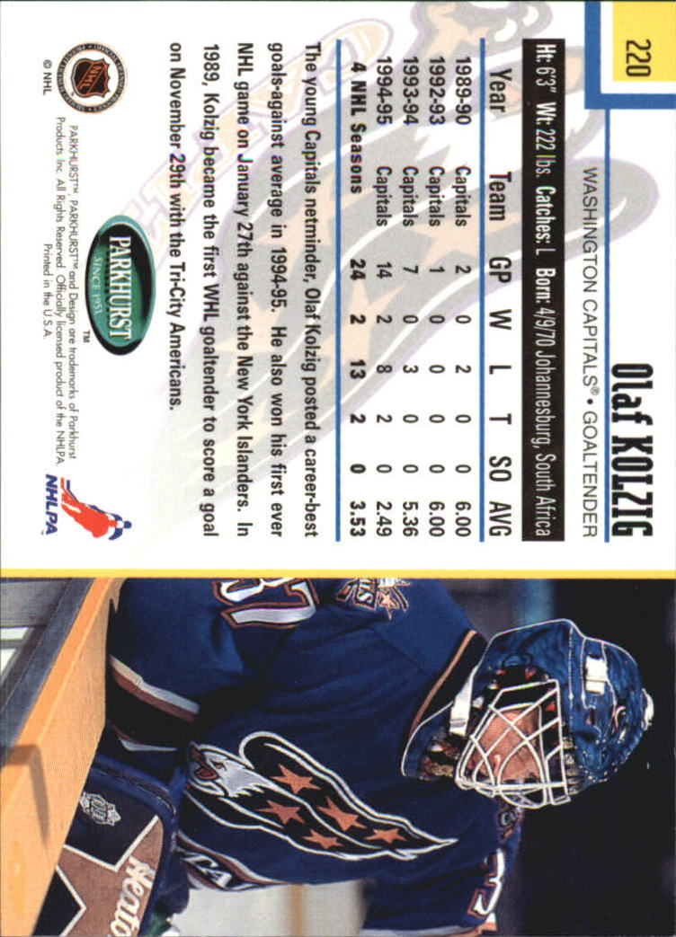 1995-96 Parkhurst International #220 Olaf Kolzig back image