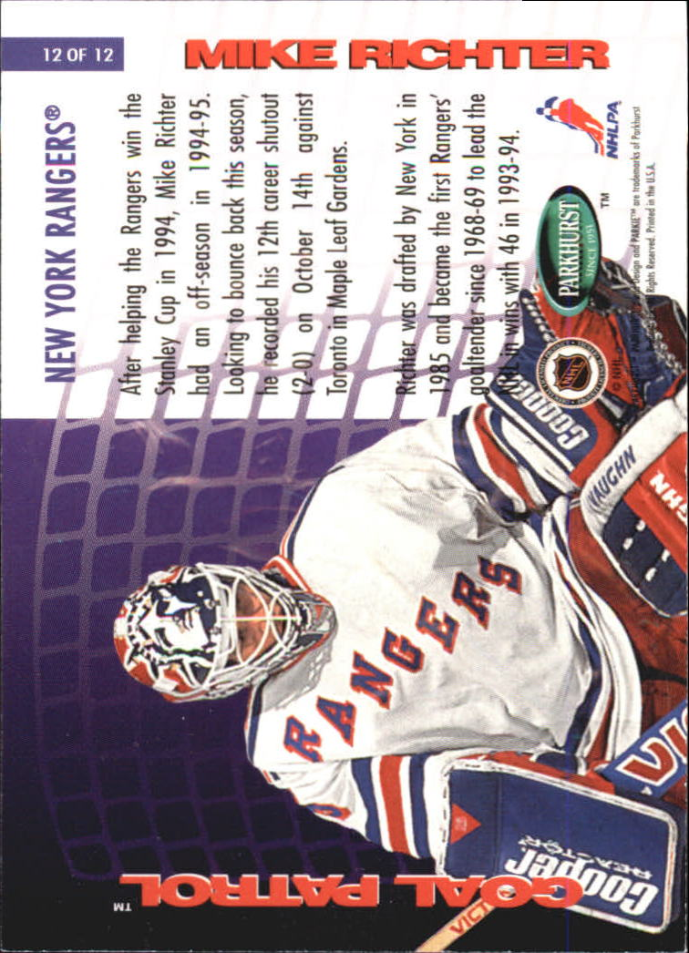 1995-96 Parkhurst International Goal Patrol #12 Mike Richter back image