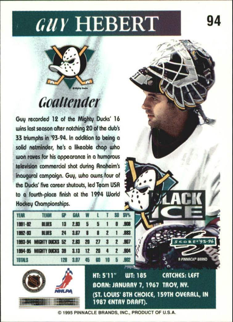 1995-96 Score Black Ice #94 Guy Hebert back image