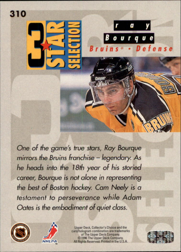 1996-97 Collector's Choice #310 Oates/Bourque/Neely back image