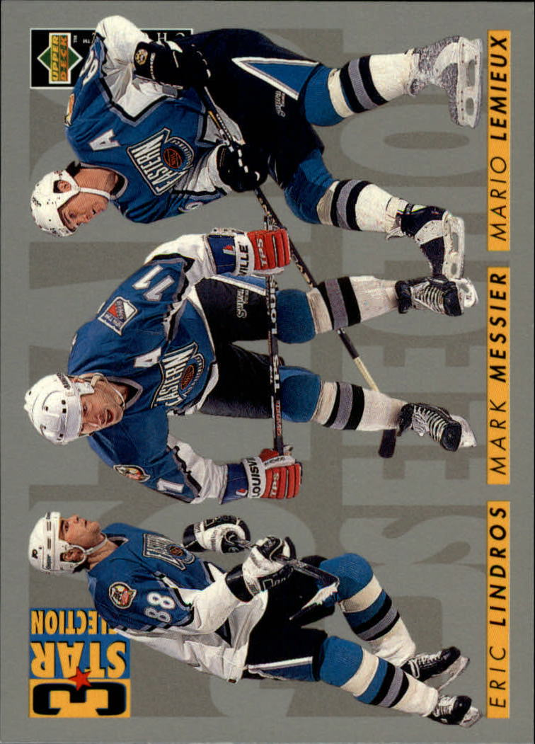 1996-97 Collector's Choice #335 Lemieux/Messier/Lindros