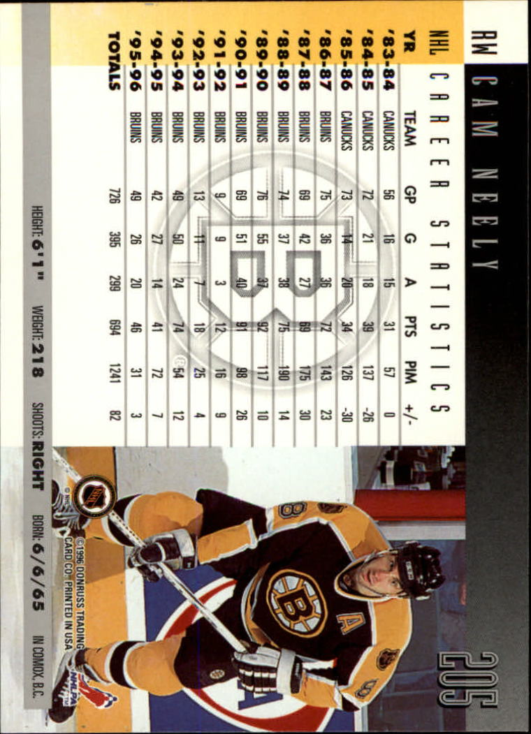 1996-97 Donruss #205 Cam Neely back image