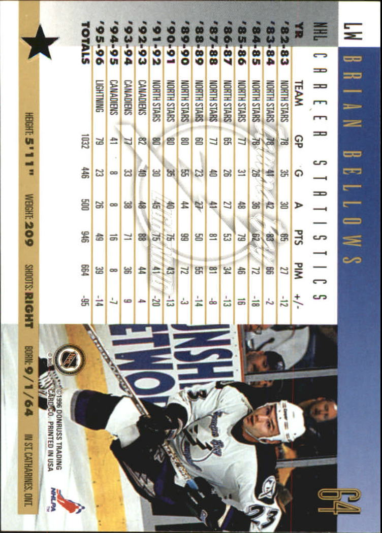 1996-97 Donruss Press Proofs #64 Brian Bellows back image