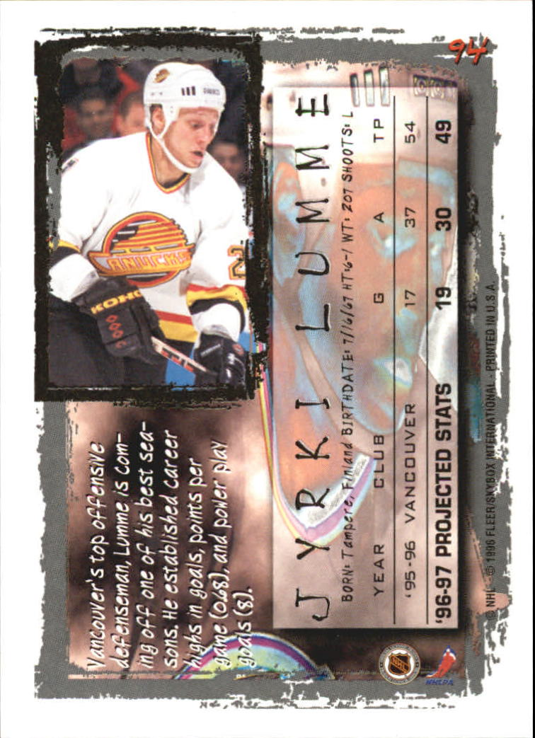 1996-97 Fleer Picks #94 Jyrki Lumme back image