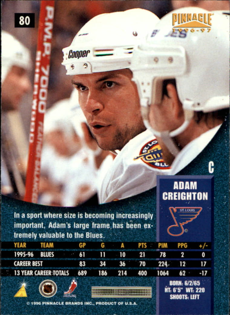1996-97 Pinnacle #80 Adam Creighton