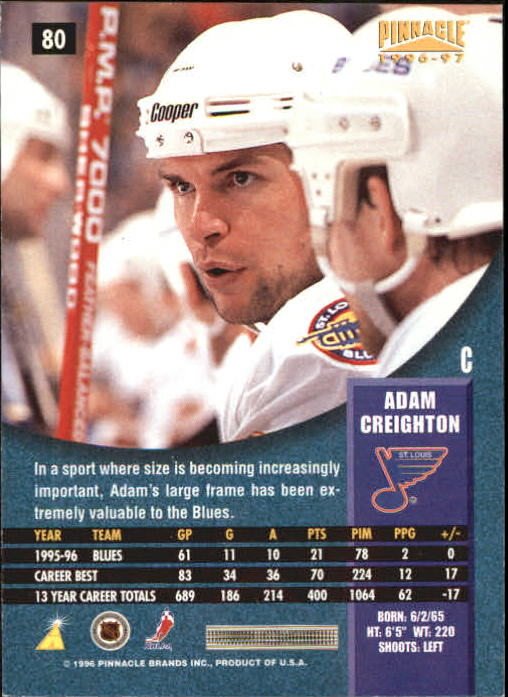 1996-97 Pinnacle Foil #80 Adam Creighton