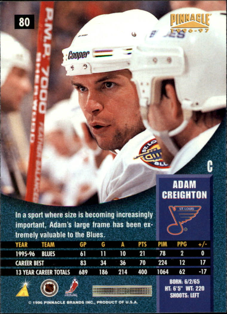 1996-97 Pinnacle Premium Stock #80 Adam Creighton