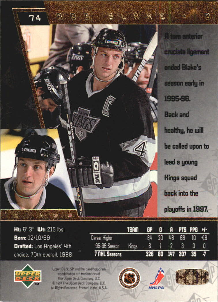 1996-97 SP #74 Rob Blake back image
