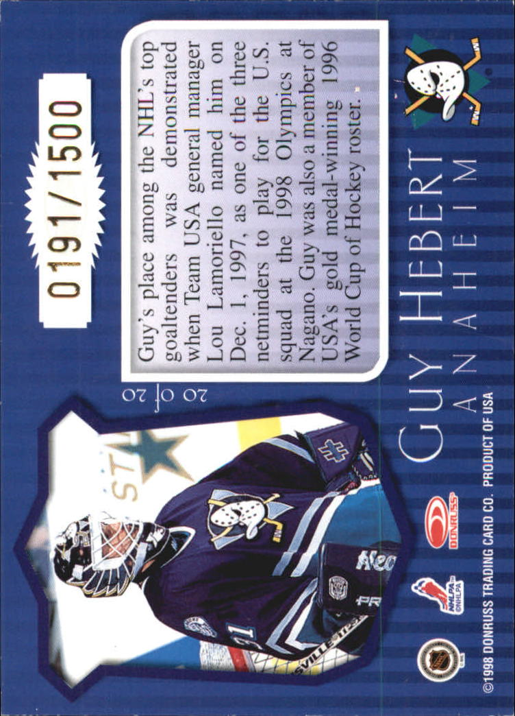 1997-98 Donruss Priority Postmaster Generals #20 Guy Hebert back image
