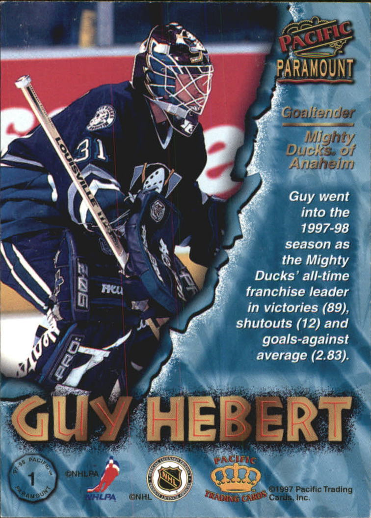 1997-98 Paramount Emerald Green #1 Guy Hebert back image