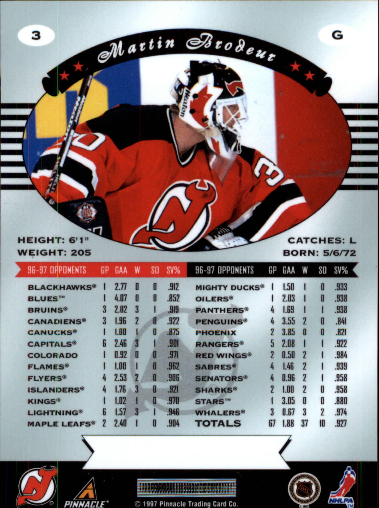 1997-98 Pinnacle Certified #3 Martin Brodeur back image