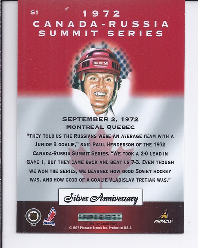 1997-98 Pinnacle Certified Summit Silver #S1 Paul Henderson back image