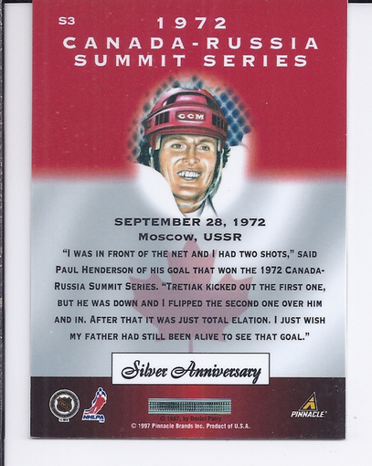 1997-98 Pinnacle Certified Summit Silver #S3 Paul Henderson back image