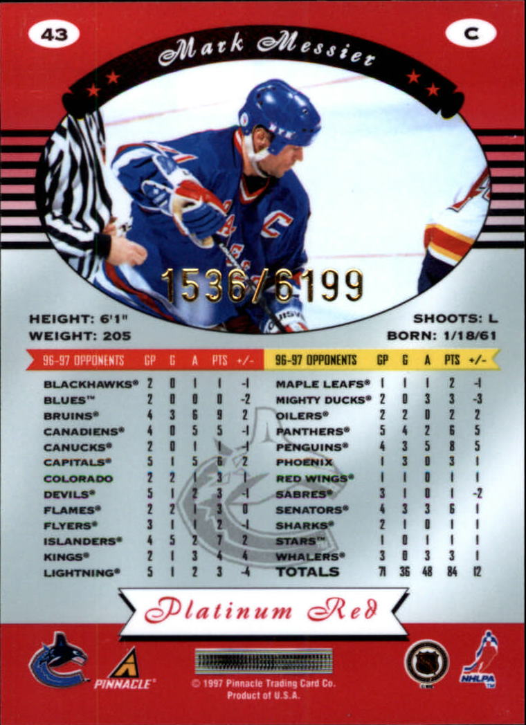 1997-98 Pinnacle Totally Certified Platinum Red #43 Mark Messier back image