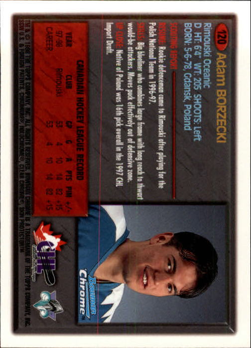 1998 Bowman Chrome CHL #120 Adam Borzecki
