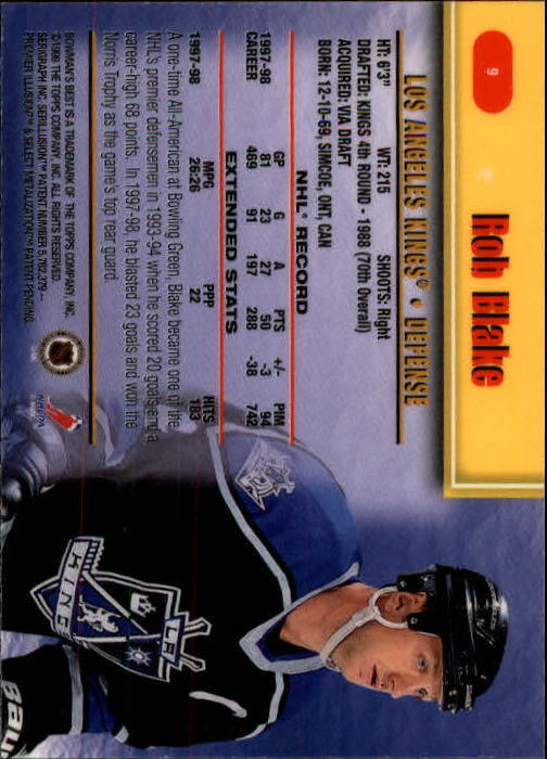 1998-99 Bowman's Best #9 Rob Blake back image