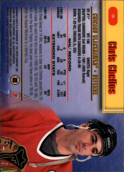 1998-99 Bowman's Best #29 Chris Chelios back image
