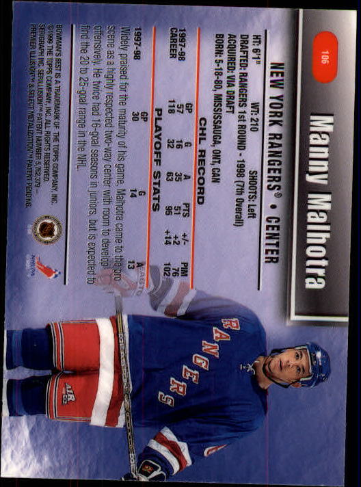 1998-99 Bowman's Best #106 Manny Malhotra SP back image