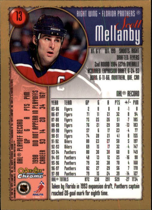 1998-99 O-Pee-Chee Chrome #13 Scott Mellanby back image