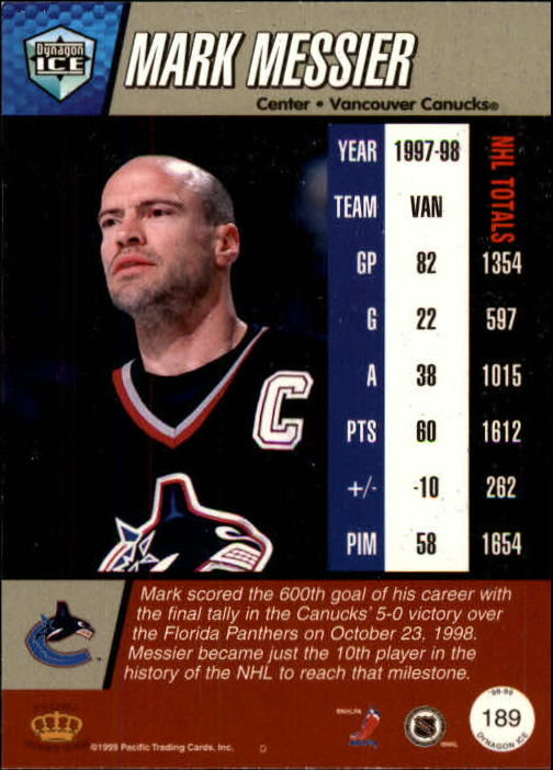 1998-99 Pacific Dynagon Ice #189 Mark Messier back image